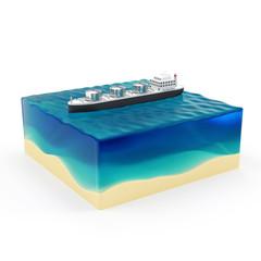 Oil Tanker Ship on Beautiful Ocean Landscape