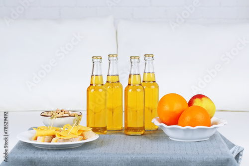 canvas print picture Table at home with food and drinks for friends