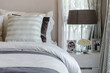 pillows on bed in modern bedroom