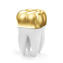Golden Dental Crown on a Tooth isolated on white background