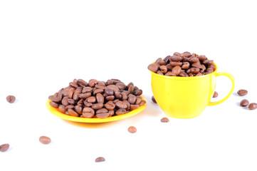 Тарелка и чашка с кофе