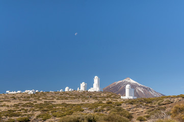 View on Teide Observatory and volcano Teide behind