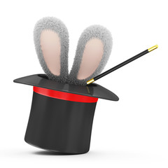 Magic Hat with Rabbit Ears isolated on white background