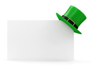 Green Leprechaun Hat for St. Patrick's Day on Blank Board