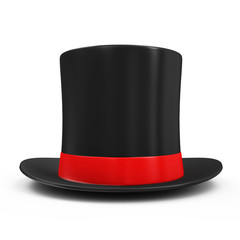 Magic Hat with Red Ribbon isolated on white background