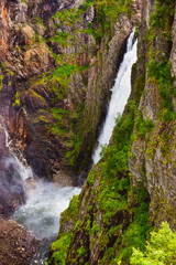 Waterfall Voringfossen in Hardanger Norway