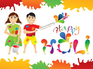 abstract colorful holi cartoon playing holi