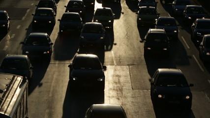 Traffic jam cars street silhouette