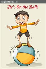 A boy on the ball