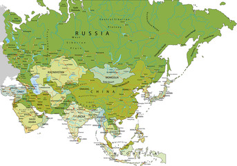 Highly detailed editable political map. Asia.