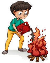 A boy making a campfire