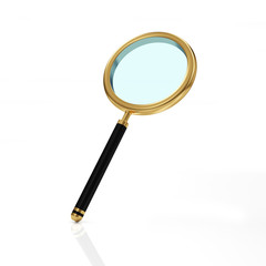 Golden Magnifying Glass isolated on white background