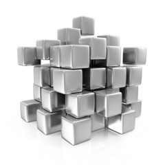 Metal Cubes isolated on white background