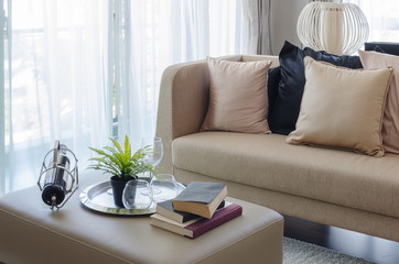modern living room with plant in vase and books