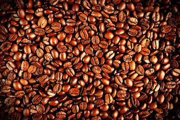 Coffee beans in the roasting process, background