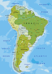 Highly detailed editable political map. South America.
