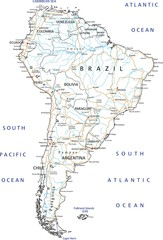 High detailed South America road map with labeling.