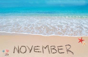 november on a tropical beach