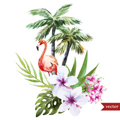 Flamingo with palms and flowers