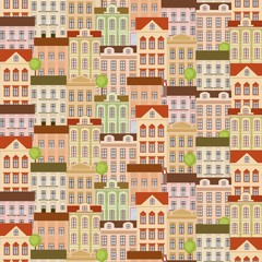 City seamless pattern with buildings