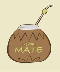 Vector illustration of yerba Mate, Calabash with Bombilla