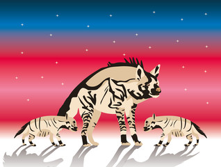 striped hyena mother & cubs  illustration