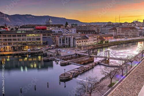 Seujet dam on Rhone river, Geneva, Switzerland, HDR
