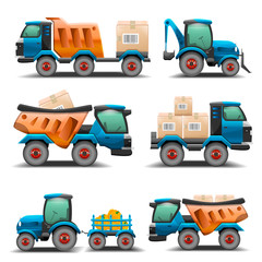 Set of trucks and tractors for transportation illustration