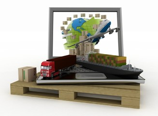 Laptop with cargo ship, truck, plane and boxes around globe