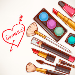 background with decorative cosmetics - 2