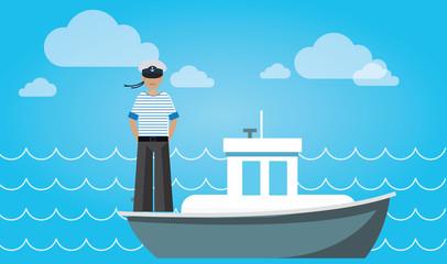 sailor on the ship flat