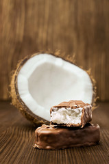 chocolate bar with coconut filling