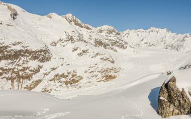 Bettmeralp, Bergdorf, Alpen, Aletschgletscher, Winter, Schweiz