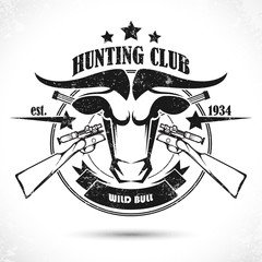 Vintage label with the symbol of a hunting club
