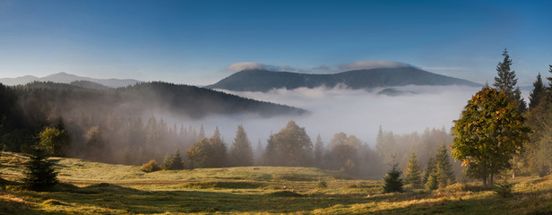 Autumn morning in Carpathian mountains