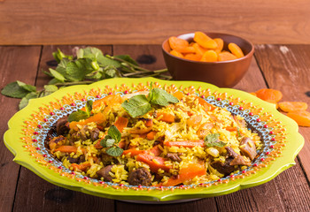 Turkish pilaf with lamb, turmeric and spices in traditional styl