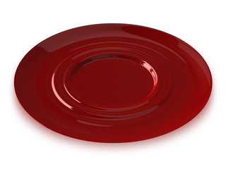 Red glass saucer