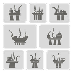 set of monochrome icons with oil platform for your design