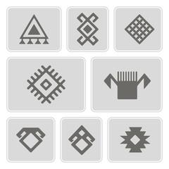 set of monochrome icons with Persian ethnic symbols