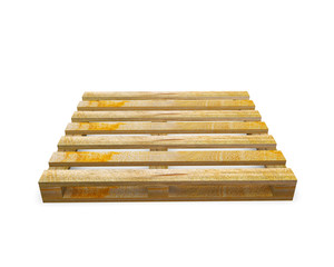 stack of wooden shipping pallets isolated on white background