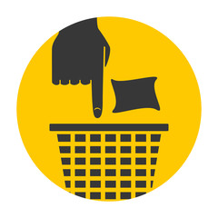Put trash in its place, hand pointing concept, icon