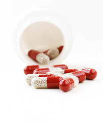 heap pills capsule on a white background close-up