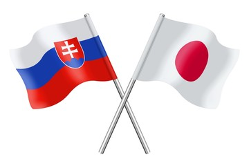 Flags: Slovakia and Japan