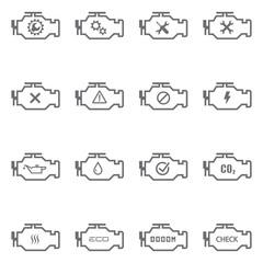 Set of Check Engine Icons