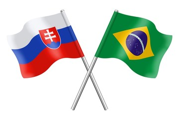 Flags: Slovakia and Brazil
