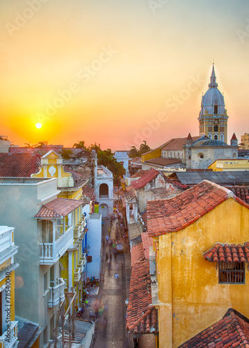Deurstickers Oude gebouw Sunset over Cartagena