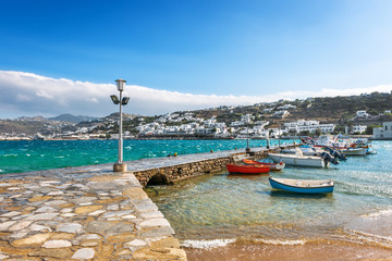 Port of Hora with colorful fishing boats on the Greek Island of