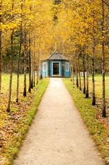 Blue gazebo in the museum estate Mikhailovskoe, soft filter