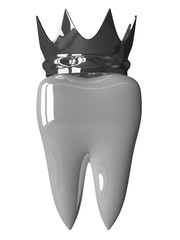 White tooth with crown