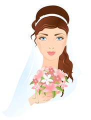 Portrait of beautiful bride with flowers in hand